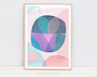 Abstract Digital Download Art Print, Round Circles, Navy, Green, Peach, Pink