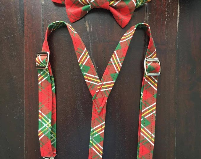 Boys Holiday Bow Tie and Suspender set in Red Plaid