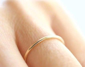 Thin Gold Band, Ultra Thin Gold Ring, Solid Gold Band, Skinny Ring, 1.5 mm Band Ring, Thin Wedding Band, Gold Stacking Ring, Slim Band Ring