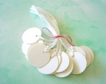 25  PrestrungTags - 1 Inch Round Scalloped - FREE Secondary Shipping- White