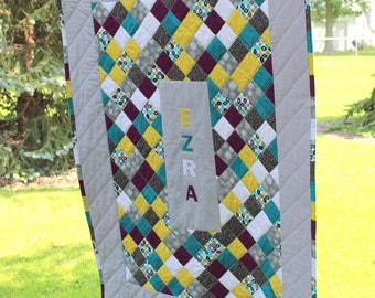 Custom Baby Quilt - Patchwork Quilt - Personalized - Baby Name Applique