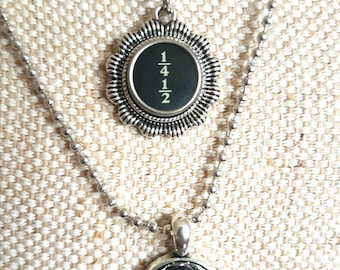 Black fraction typewriter key necklace with flower or plain surround/ typewriter key pendant / silvertone flower pendant