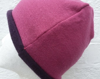 Pink and purple beanie winter hat soft lambswool accessory insulate headcover princess hat cosy medium size womens eco-friendly new age hat.