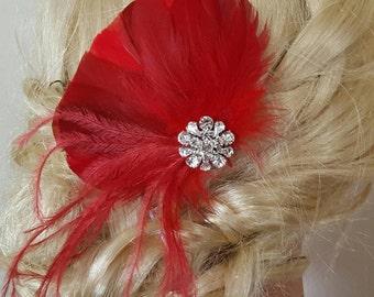 Red Feather Hair Clip, Bridal Hair Clip, Wedding Fascinator, Bridal Hairpiece, Feather Hair Clip, Bridal Comb, Bridal fascinators, wedding