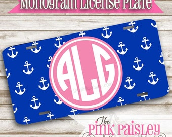 Monogram Anchor License Plate | Custom License Plate | Personalized Car Tag | Anchor Design License Plate