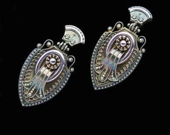 Antique Victorian Etruscan Revival Earrings 14k Gold Granulation Filigree (#6428)