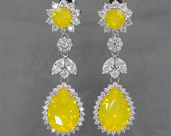 Chandelier Earrings Yellow Opal Earrings Bridal Earrings Yellow Crystal Earrings Swarovski Rhinestone Jewelry for Brides, Bridesmaid Gift