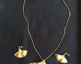 Ginkgo, necklace, earring set
