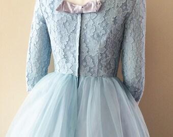 Baby Blue Lace Vintage Full Length Wedding Dress Prom 50s 60s Long Sleeve UK 8