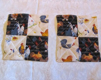 Chicken and Rooster Inspired Reversible 2 in 1 Pot Holders Hot Pads Mug Rugs Coasters Rooster Candle Mat Housewarming Gift Kitchen Accessory