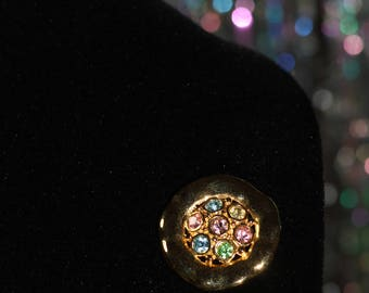 Round Gold Multi Colour Brooch *Excellent Condition