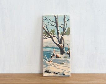 Paint by Number Art Block 'Winter Tree' - vintage winter landscape, trees, rural