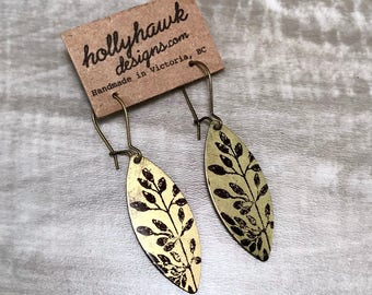 Earrings Raw Brasswith Hand Printed Flora Oblong * SALE * Coupon Codes