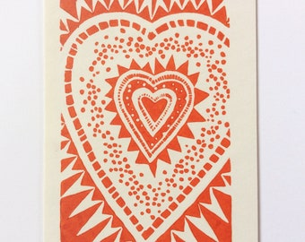linocut - HEART // 5x7 art print // printmaking // block print // red // love // print // original art // small, miniature // 4x6