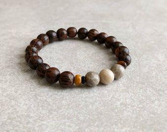 Mens Bracelet - Old Palmwood and Fossil Jasper - Energy Bracelet - Mala Bracelet - Yoga Bracelet - Gifts For Him - Item #360