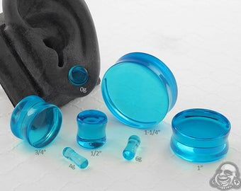 "Double Flare Pacific Blue Glass Plugs 6g, 4g, 2g, 0g, 10mm, 7/16"", 1/2"" (12.5mm), 9/16"", 5/8"", 3/4"", 7/8"", 1"""