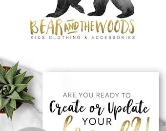 155 - Bear Woods, LOGO Premade Logo Design, Branding, Blog Header, Blog Title, Business, Boutique, Custom, Animal, Kids, Bear,