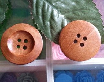 5 round buttons painted with 4 holes wood buttons, burlywood environ28 mm in diameter