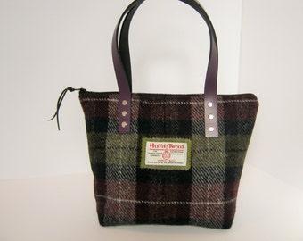 Aubergine check Harris Tweed Tote bag/ Handbag