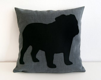 English Bulldog pillow cover, dog pillow, decorative pillow, sofa pillow, cushions, dog pillow, dorm pillow, personalized pillow