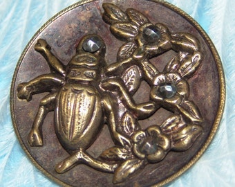 Large Antique Brass Picture Button ~ Tinted Background ~ Insect Among the Flowers ~ Facet Cut Steel Accents ~ Very Realistic!