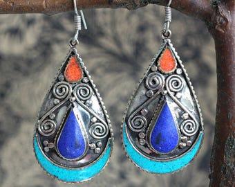 statement earrings, tibetan jewellery, brass earrings, hippy earrings, himalayan earrings, artisan earrings, lapis earrings, gift for her