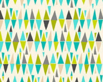 By The HALF YARD - Lime Twist by The Henley Studios for Makower, #1414/Q Harlequin, Retro Triangles in Aqua, Turquoise, Gray, Green on White