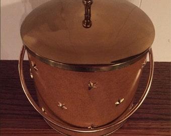 1950's Vintage * Retro * Mid-Century Modern * Gold Stars & Faux Leather Ice Bucket