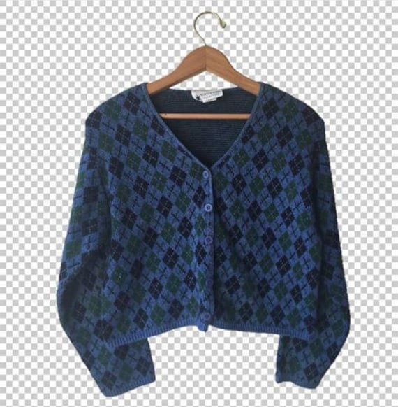 90s Argyle Cropped Cardigan Sweater // 1990s Preppy Blue Green Crop Sweater // Preppy Classic Cardigan by Etsy