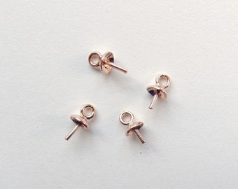 Rose Gold SS 4 mm Bead cap with peg and link, for half drilled beads 4 Pcs. G7583