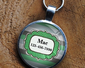Pet iD Tag mint green striped colorful round Dog Tag 35mm round -  by California Mutts