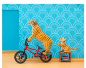 30% OFF SALE Tiger animal art print with BMX: Tiger Mom