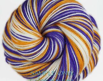 "Dyed to Order: Self striping sock yarn - ""PURPLE - GOLD - WHITE"" - Football yarn - Baseball - School colors yarn - Minnesota - L.A"