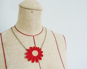 Necklace, kimono fabric, red flower fabric, vintage Japanese kimono fabric, floral necklace