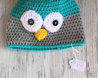 Owl hat 1-3 years ready to ship