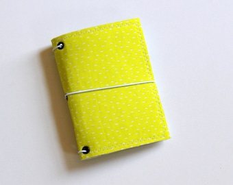 Lime Speckled Mini Composition Fabric Fauxdori Travelers Notebook Cover Planner Journal Jotter  Spring