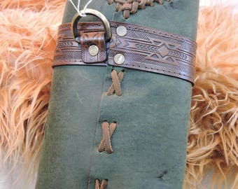 In stock Back and Side Target Archery Quiver, Green Leather Quiver, SCA, Medieval