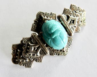 Art Deco Egyptian Revival Turquoise Czech Glass Scarab Silver Brooch