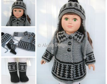 Knitting Pattern for 18 inch Doll 3 PC Set Knitting Patterns Coat Jacket Boots Ear Flap Hat for American 18 inch Dolls Outfit Girl Christmas