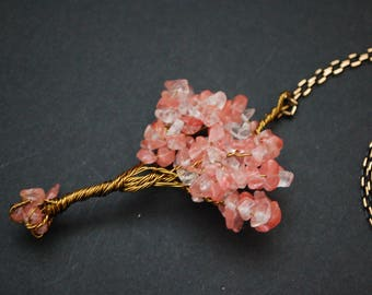 Rose quartz wire wrapped copper tree of life necklace