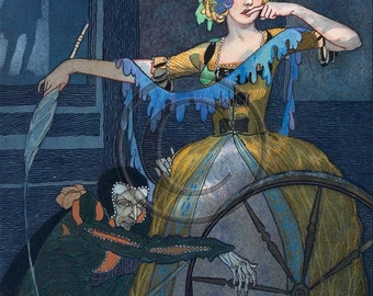 Sleeping Beauty, A Spindle, Brothers Grimm, Briar Rose, 1920s Print