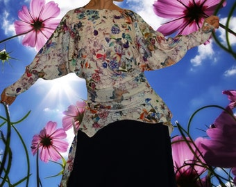 Asymmetric tunic, tunic, stretch, ethnic, boho ' pretty flowers.   '