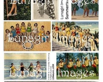 RETRO BEACH BEAUTIES, digital collage sheet, vintage postcards Hawaii Florida summer vacation photos ephemera women swimsuit girls, Download