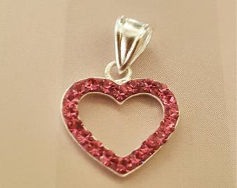 Hot Pink Heart Pendant Necklace