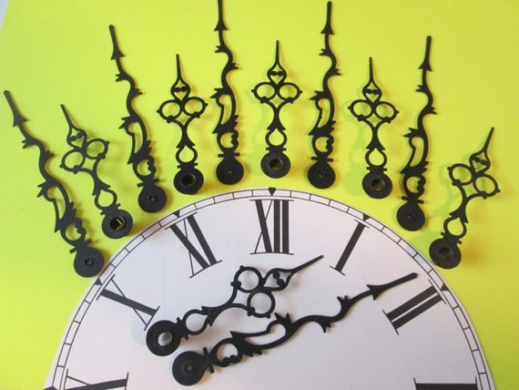 "6 Pairs of Large 5 1/8"" and 3 3/4"" Vintage Black Serpentine/Gothic Design Clock Hands for your Clock Projects, Jewelry Crafts, Steampunk Art"