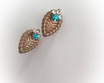 Vintage Leaf Earrings with White and Aqua Blue Rhinestones Screw Backs