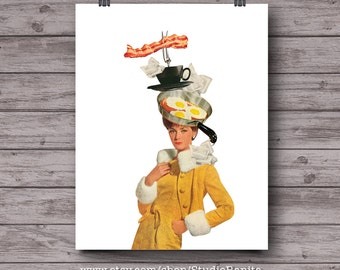 Bacon and Eggs Couture, kitchen printable collage, instant download wall art, vintage fashion, kitchen art, coffee, tea, breakfast, retro