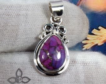 Purple Turquoise Stone, Purple Turqoise Pendant, Designer Pendant, 925 Sterling Silver, Handmade Pendant, Small Pendant, 20% off per item