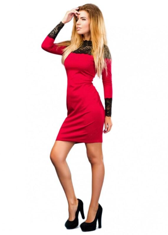 Rotes Kleid Spitzenärmel / elegante Frau Kleid / rote kleine