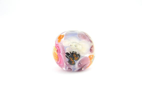 Lampwork Glass Beads - English garden flower bead 19mm - The Paradise Collection